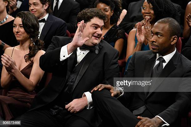 LIVE 'Ronda Rousey' Episode 1694 Pictured Bobby Moynihan and Jay Pharoah during the 'Screen Guild Awards' sketch on January 23 2016