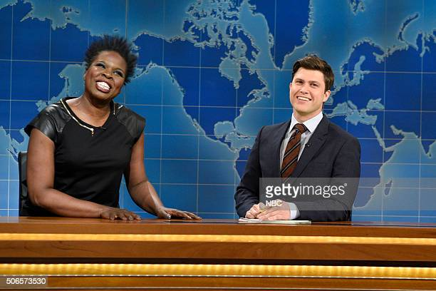 LIVE Ronda Rousey Episode 1694 Pictured Leslie Jones and Colin Jost during Weekend Update on January 23 2016