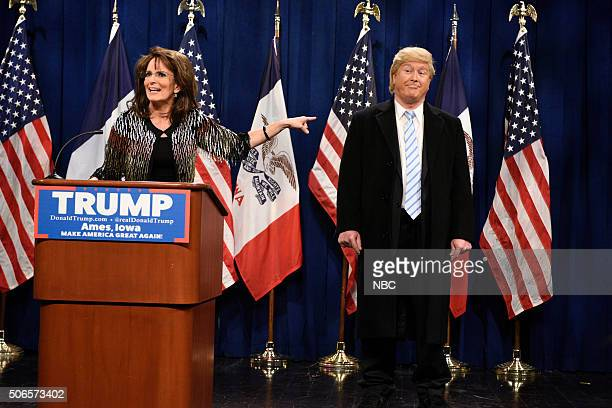LIVE 'Ronda Rousey' Episode 1694 Pictured Tina Fey as Sarah Palin and Darrell Hammond as Donald Trump during the 'Palin Endorsement Cold Open' sketch...