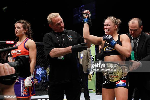Ronda Rousey is declared the winner and new bantamweight champion after her fight with Miesha Tate during the Strikeforce event at Nationwide Arena...