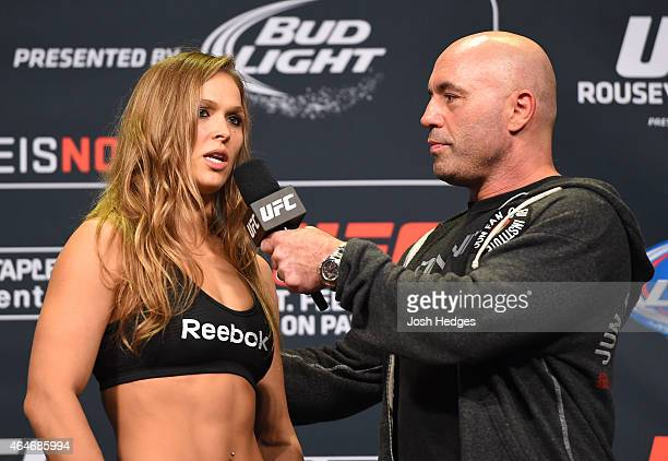 Ronda Rousey is interviewed by Joe Rogan during the UFC 184 weighin at the Event Deck and LA Live on February 27 2015 in Los Angeles California