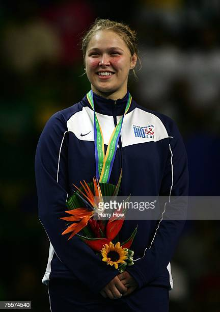 Ronda Rousey of the United States of America smiles on the podium with her gold medal after winning the Women's 70Kg Judo final in the 2007 XV Pan...