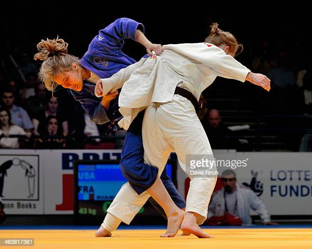 Ronda Rousey of the USA attacks Fanny Riaboff of France during their u63kg final eventually winning her first World Cup gold medal during the...
