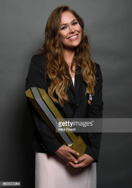 Ronda Rousey poses for a portrait backstage after being inducted into the UFC Hall of Fame during the UFC Hall of Fame Class of 2018 Induction...