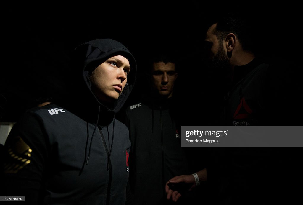 Ronda Rousey prepares to enter the Octagon before facing Holly Holm in their UFC women's bantamweight championship bout during the UFC 193 event at Etihad Stadium on November 15, 2015 in Melbourne, Australia.