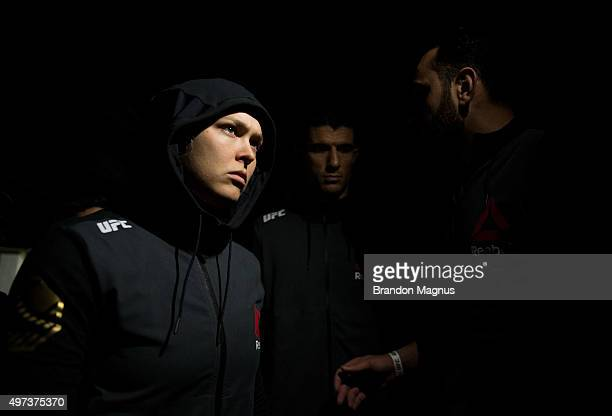 Ronda Rousey prepares to enter the Octagon before facing Holly Holm in their UFC women's bantamweight championship bout during the UFC 193 event at...