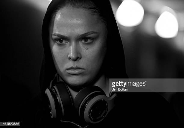 Ronda Rousey prepares to enter the Octagon in her UFC women's bantamweight championship bout against Cat Zingano during the UFC 184 event at Staples...