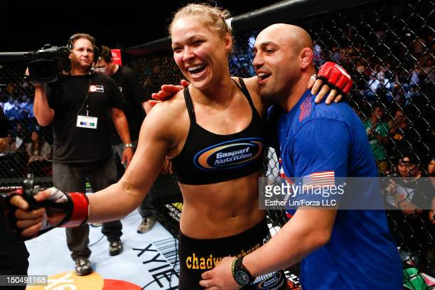Ronda Rousey reacts after defeating Sarah Kaufman by submission during the Strikeforce event at Valley View Casino Center on August 18, 2012 in San...