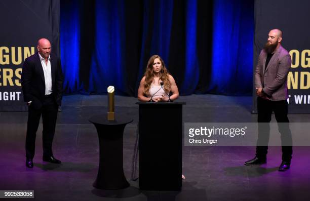 Ronda Rousey speaks after being inducted into the UFC Hall of Fame during the UFC Hall of Fame Class of 2018 Induction Ceremony inside The Pearl...