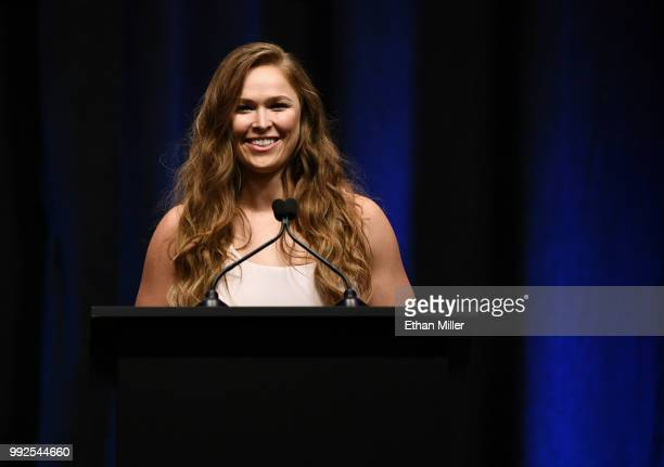 Ronda Rousey speaks as she becomes the first female inducted into the UFC Hall of Fame at The Pearl concert theater at Palms Casino Resort on July 5,...