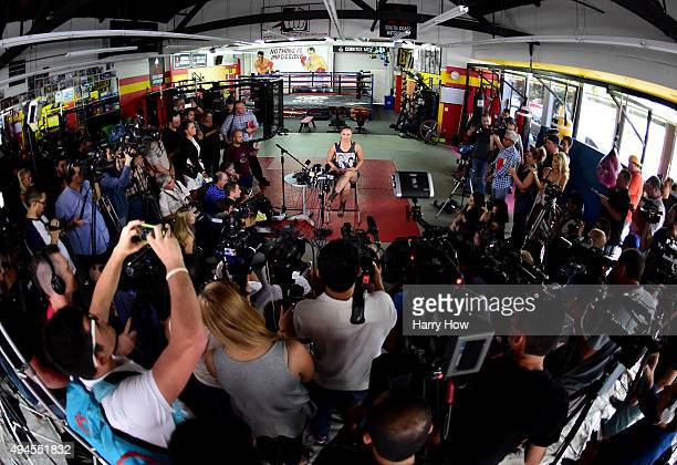 Ronda Rousey speaks to media at a press conference leading up to her fight against Holly Holm in UFC 183 at the Glendale Fighting Club on October 27...