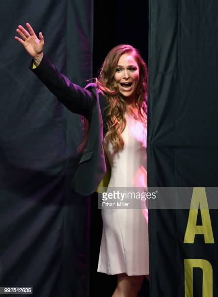 Ronda Rousey waves as she leaves the stage after becoming the first female inducted into the UFC Hall of Fame at The Pearl concert theater at Palms...