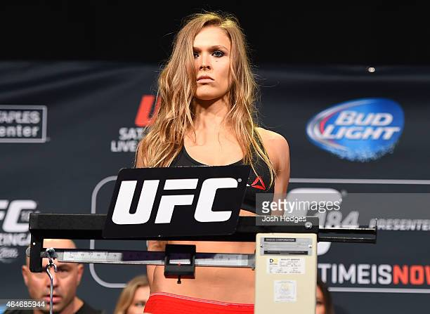 Ronda Rousey weighs in during the UFC 184 weigh-in at the Event Deck and LA Live on February 27, 2015 in Los Angeles, California.