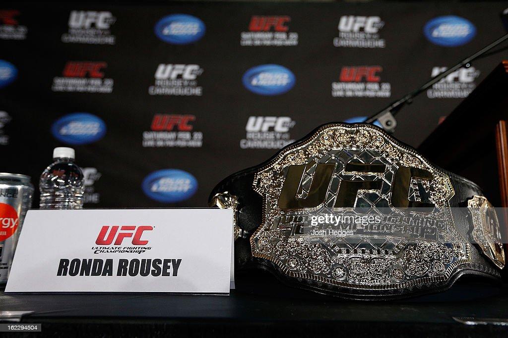 Ronda Rousey's UFC bantamweight championship belt is seen on