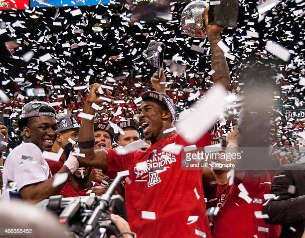 Rondae HollisJefferson of the Arizona Wildcats celebrates after winning the championship game of the Pac12 Basketball Tournament against the Oregon...