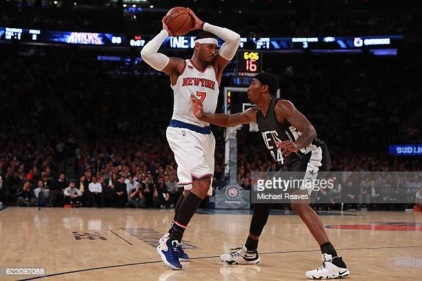 Rondae HollisJefferson of the Brooklyn Nets defends Carmelo Anthony of the New York Knicks during the second half at Madison Square Garden on...