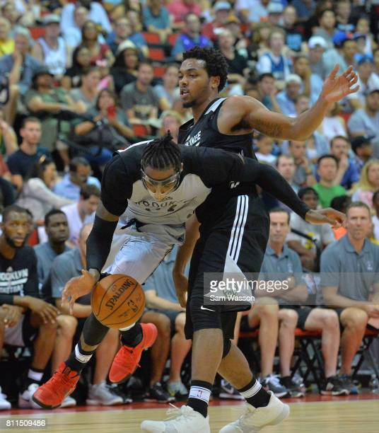 Rondae HollisJefferson of the Brooklyn Nets drives against Sterling Brown of the Milwaukee Bucks during the 2017 Summer League game at the Cox...
