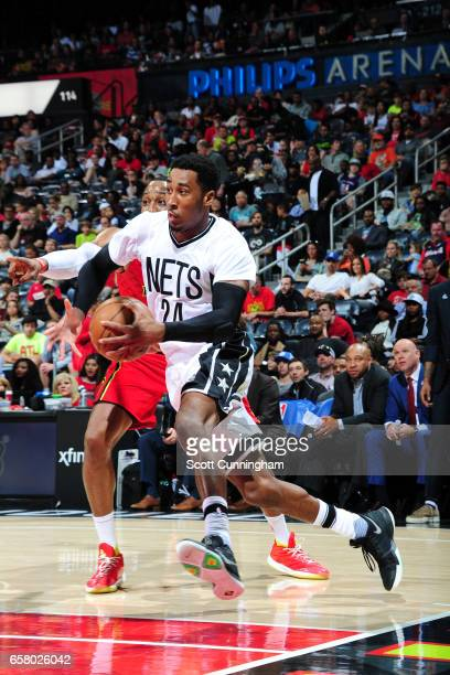 Rondae HollisJefferson of the Brooklyn Nets drives to the basket against the Atlanta Hawks on March 26 2017 at Philips Arena in Atlanta Georgia NOTE...