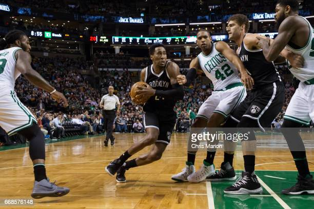Rondae HollisJefferson of the Brooklyn Nets drives to the basket against the Boston Celtics on April 10 2017 at the TD Garden in Boston Massachusetts...