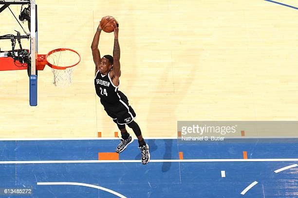 Rondae HollisJefferson of the Brooklyn Nets dunks against the New York Knicks at Madison Square Garden in New York City on October 8 2016 NOTE TO...