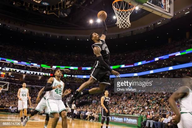 Rondae HollisJefferson of the Brooklyn Nets dunks the ball against the Boston Celtics on April 10 2017 at the TD Garden in Boston Massachusetts NOTE...