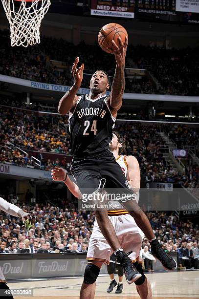 Rondae HollisJefferson of the Brooklyn Nets goes for the layup during the game against the Cleveland Cavaliers on November 28 2015 at Quicken Loans...