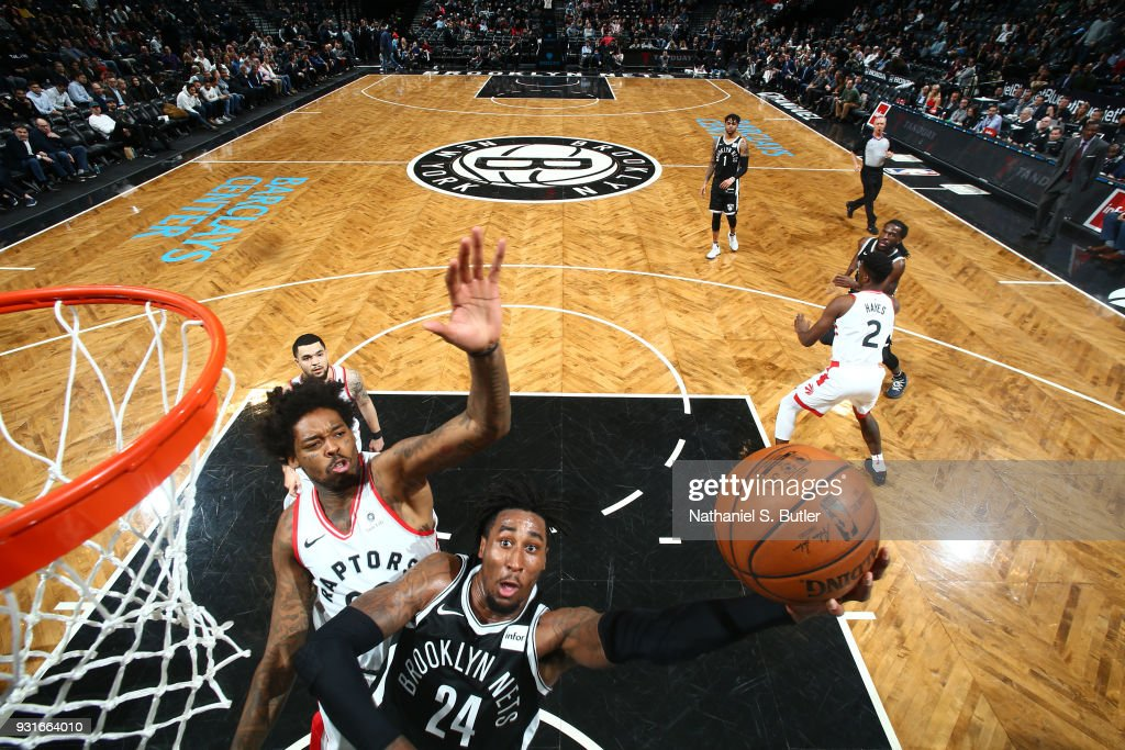 Rondae Hollis-Jefferson #24 of the Brooklyn Nets goes to the basket against the Toronto Raptors on March 13, 2018 at Barclays Center in Brooklyn, New York.