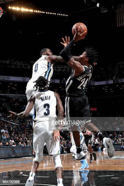 Rondae HollisJefferson of the Brooklyn Nets goes to the basket against the Memphis Grizzlies on March 19 2018 at Barclays Center in Brooklyn New York...