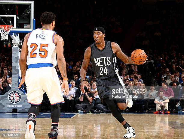 Rondae HollisJefferson of the Brooklyn Nets handles the ball against the New York Knicks on November 9 2016 at Madison Square Garden in New York City...