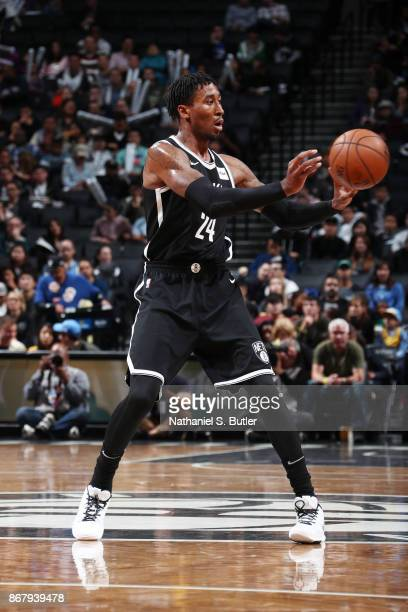 Rondae HollisJefferson of the Brooklyn Nets handles the ball against the Denver Nuggets on October 29 2017 at Barclays Center in Brooklyn New York...