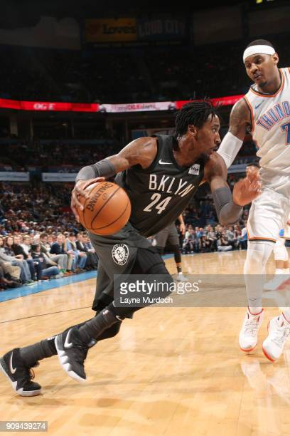 Rondae HollisJefferson of the Brooklyn Nets handles the ball against the Oklahoma City Thunder on January 23 2018 at Chesapeake Energy Arena in...