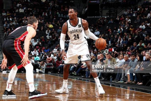 Rondae HollisJefferson of the Brooklyn Nets handles the ball during the game against the Miami Heat during a preseason game on October 5 2017 at...