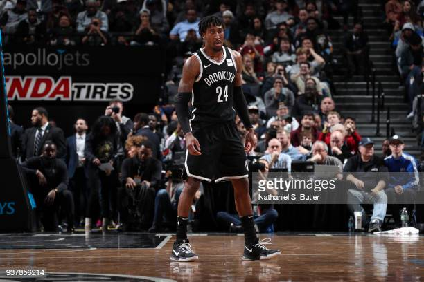 Rondae HollisJefferson of the Brooklyn Nets looks on during the game against the Cleveland Cavaliers on March 25 2018 at Barclays Center in Brooklyn...
