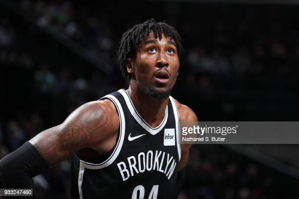 Rondae HollisJefferson of the Brooklyn Nets reacts to a play against the Dallas Mavericks on March 17 2018 at Barclays Center in Brooklyn New York...