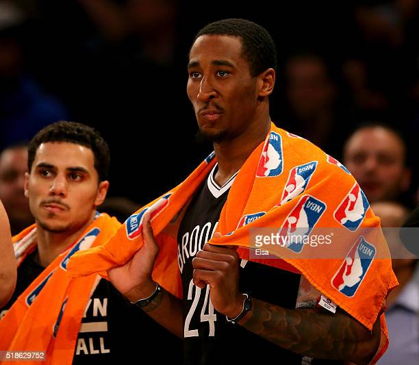Rondae HollisJefferson of the Brooklyn Nets reacts to the 10591 loss to the New York Knicks at Madison Square Garden on April 1 2016 in New York City...