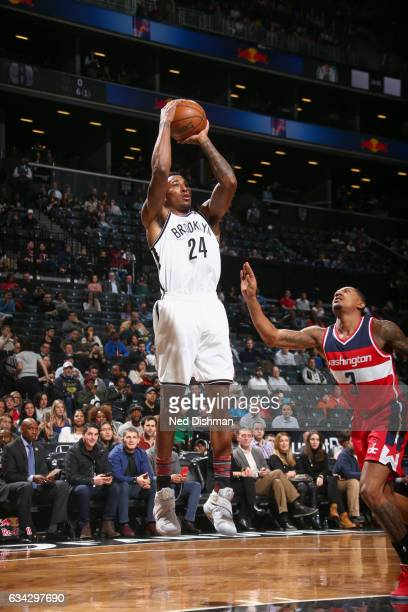 Rondae HollisJefferson of the Brooklyn Nets shoots the ball against the Washington Wizards on February 8 2017 at Barclays Center in Brooklyn New York...