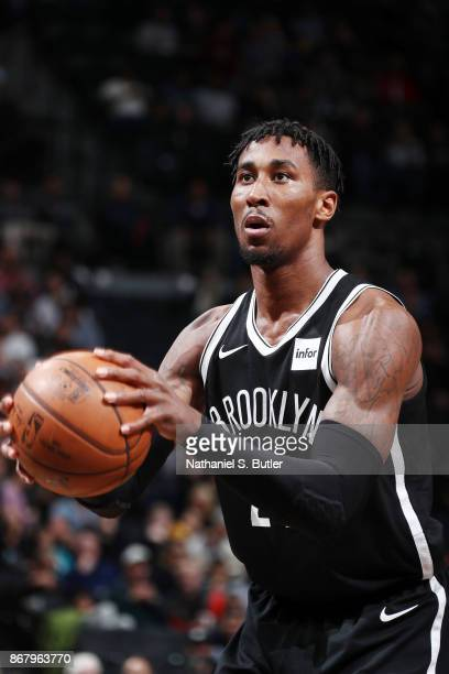 Rondae HollisJefferson of the Brooklyn Nets shoots the ball against the Denver Nuggets on October 29 2017 at Barclays Center in Brooklyn New York...