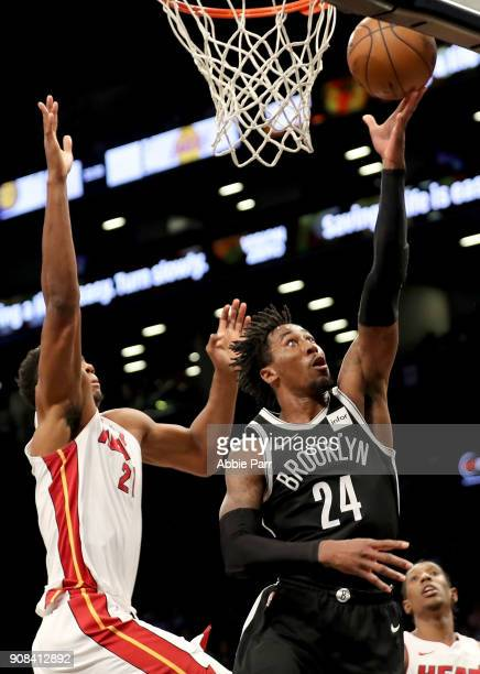 Rondae HollisJefferson of the Brooklyn Nets takes a shot against Hassan Whiteside of the Miami Heat in the second quarter during their game at...