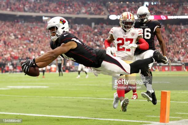 Rondale Moore of the Arizona Cardinals dives for the endzone but comes up short during the first quarter against the San Francisco 49ers at State...