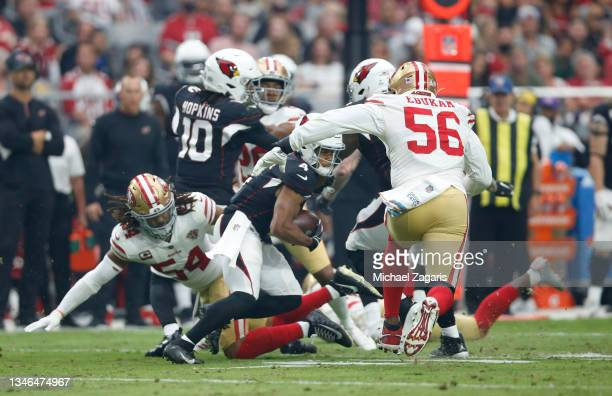 Rondale Moore of the Arizona Cardinals rushes during the game against the San Francisco 49ers at State Farm Stadium on October 10, 2021 in Glendale,...