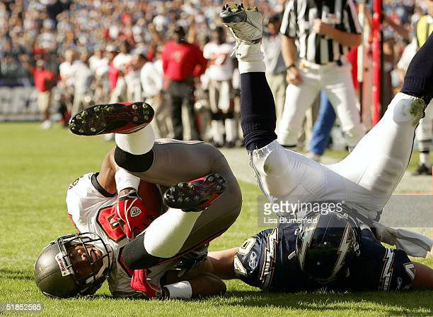 Ronde Barber of the Tampa Bay Buccaneers intercepts a touchdown attempt in the 1st quarter against the San Diego Chargers on December 12 2004 at...