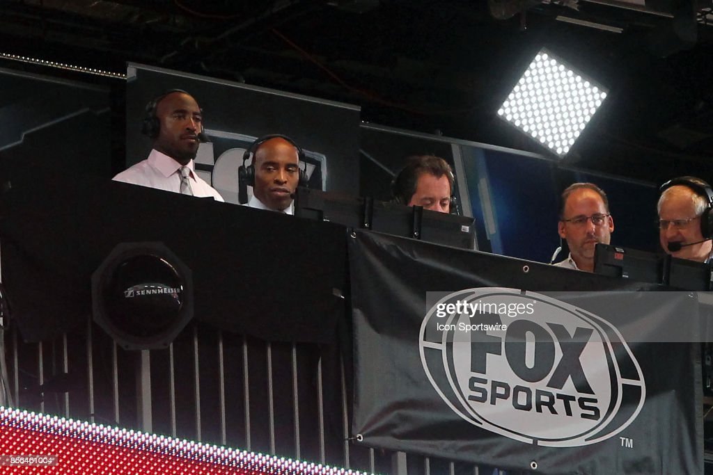 Ronde & Tiki Barber in the Fox Sports broadcasting booth during the NFL Regular game between the New York Giants and the Tampa Bay Buccaneers on October 01, 2017 at Raymond James Stadium in Tampa, Florida.