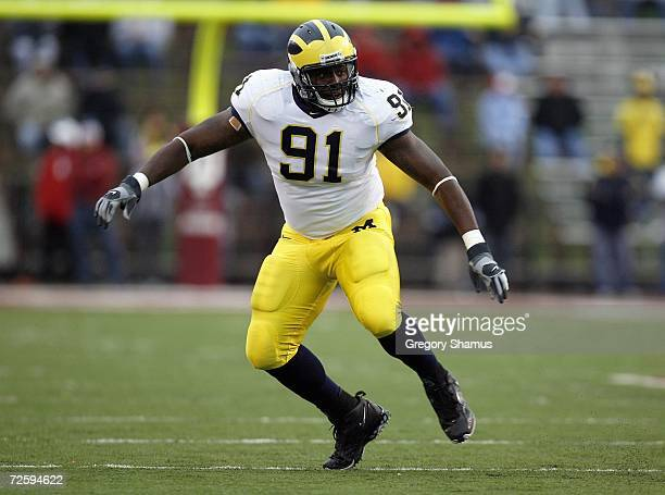 Rondell Biggs of the Michigan Wolverines moves on the field during the game against the Indiana Hoosiers on November 11 2006 at Memorial Stadium in...