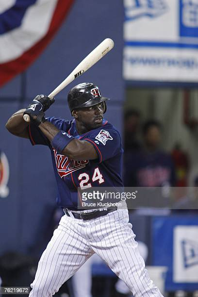 Rondell White of the Minnesota Twins bats in a game against the Texas Rangers at the Humphrey Metrodome in Minneapolis Minnesota on August 17 2007...