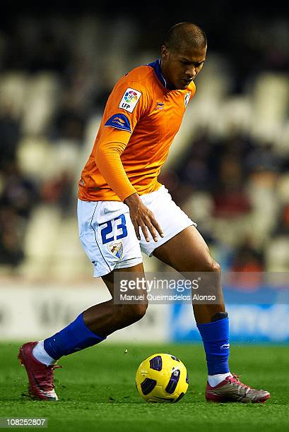 Rondon of Malaga in action during the La Liga match between Valencia and Malaga at Estadio Mestalla on January 22 2011 in Valencia Spain Valencia won...