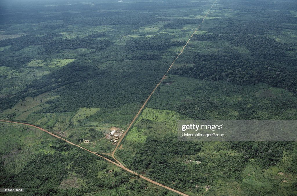BRAZIL Rondonia. Aerial view over deforestation and development along new roads.  : News Photo