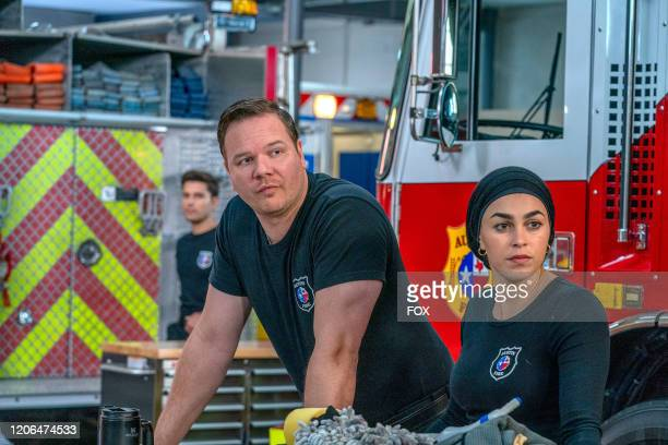 Ronen Rubinstein Jim Parrack and Natacha Karam in the Monster Inside episode of 911 LONE STAR airing Monday March 2 on FOX
