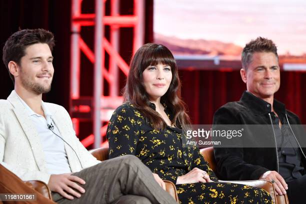 Ronen Rubinstein Liv Tyler and Rob Lowe of '911 Lone Star' speak during the Fox segment of the 2020 Winter TCA Press Tour at The Langham Huntington...