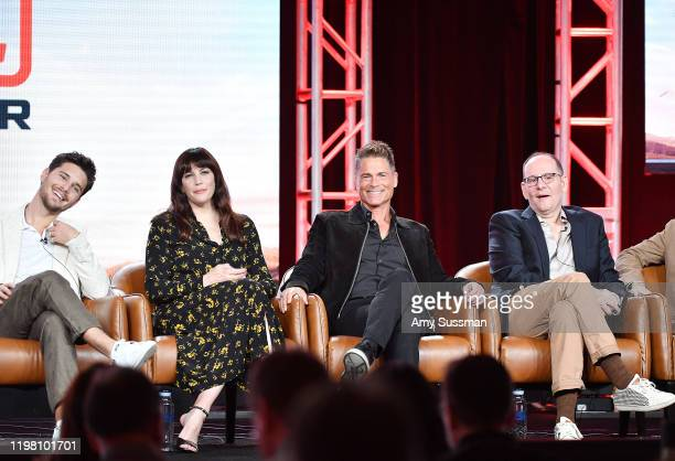 Ronen Rubinstein Liv Tyler Rob Lowe and Tim Minear of '911 Lone Star' speak during the Fox segment of the 2020 Winter TCA Press Tour at The Langham...