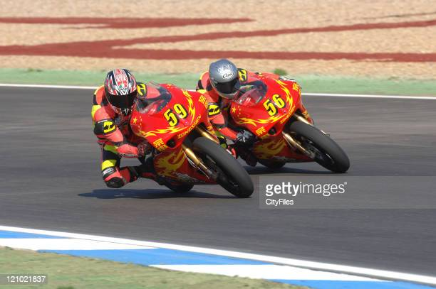 Rong Zai Su and Chi Fung Ho during training for the 2006 Estoril Moto GP in Estoril Portugal on October 14 2006